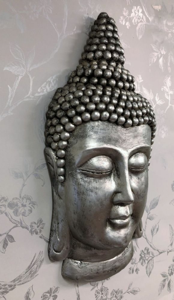 Large Pewter Effect Thai Buddha Head Home |Garden Wall Art
